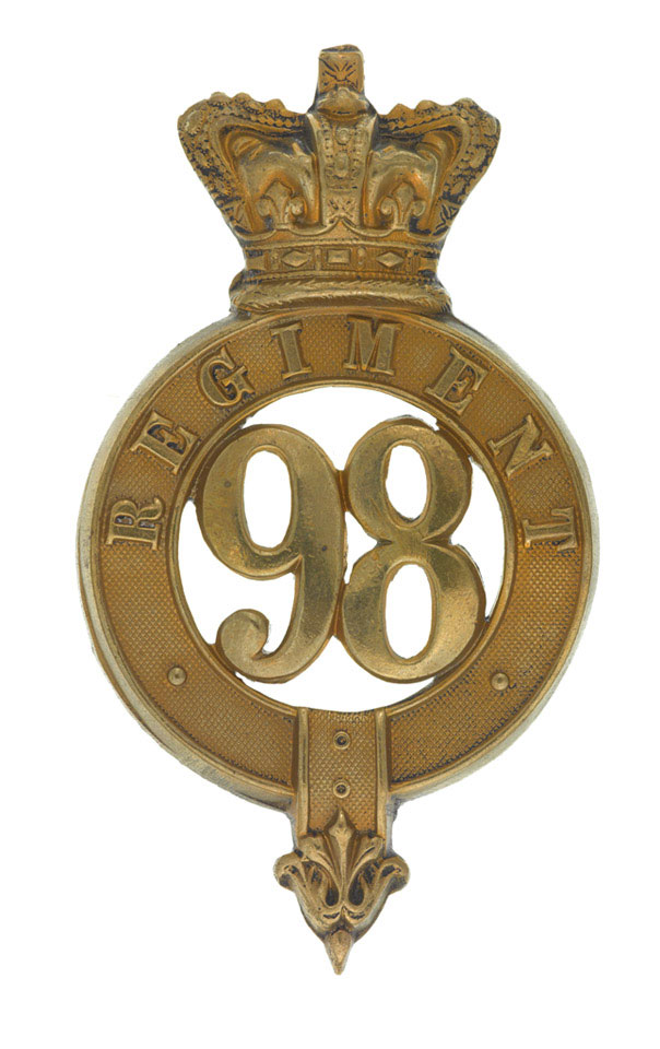 Glengarry badge, other ranks, 98th (Prince of Wales's) Regiment of Foot, 1874-1881
