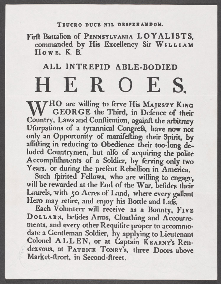 Recruiting poster, 1st Battalion, Pennyslvania Loyalists