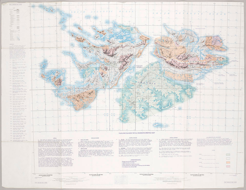 Map of the Falkland Islands, 1982