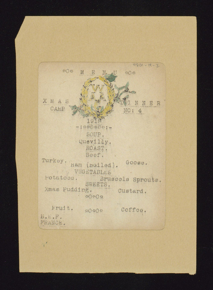 Queen Mary's Army Auxiliary Corps Christmas Dinner menu, 1918
