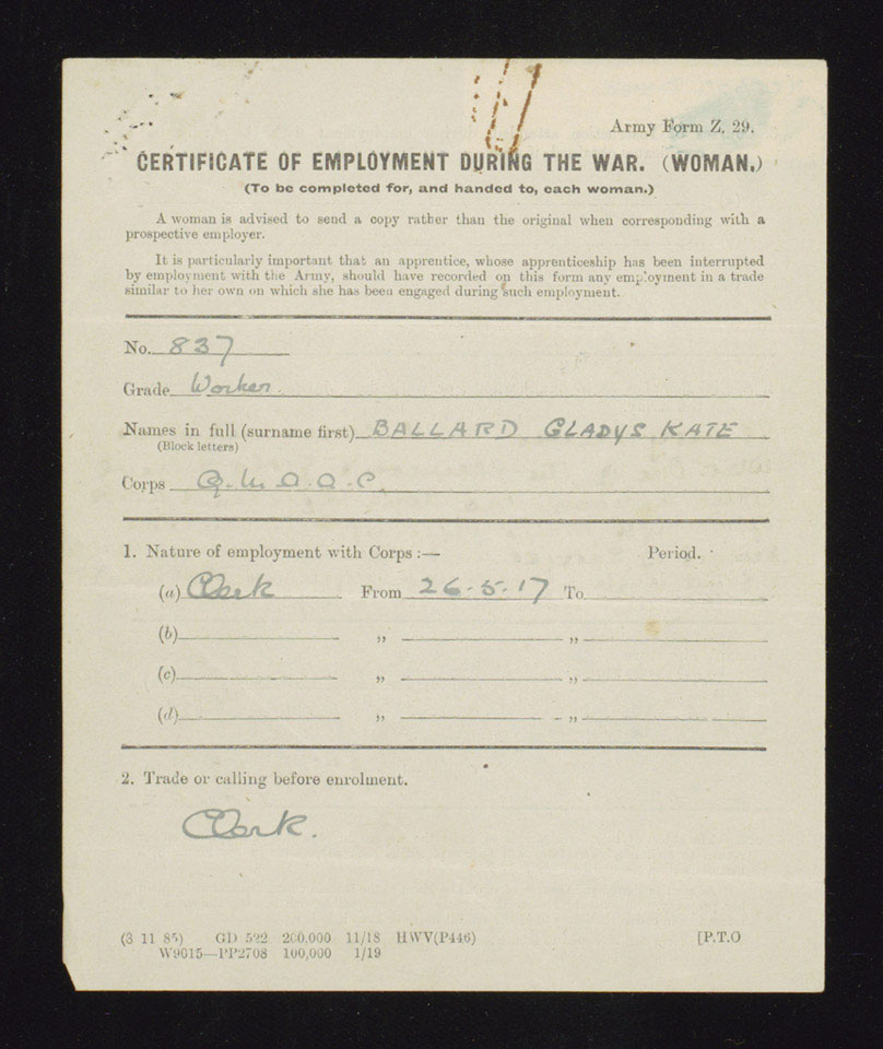Certificate of employment during the war of Worker Gladys Kate Ballard, Women's Army Auxiliary Corps, 1920