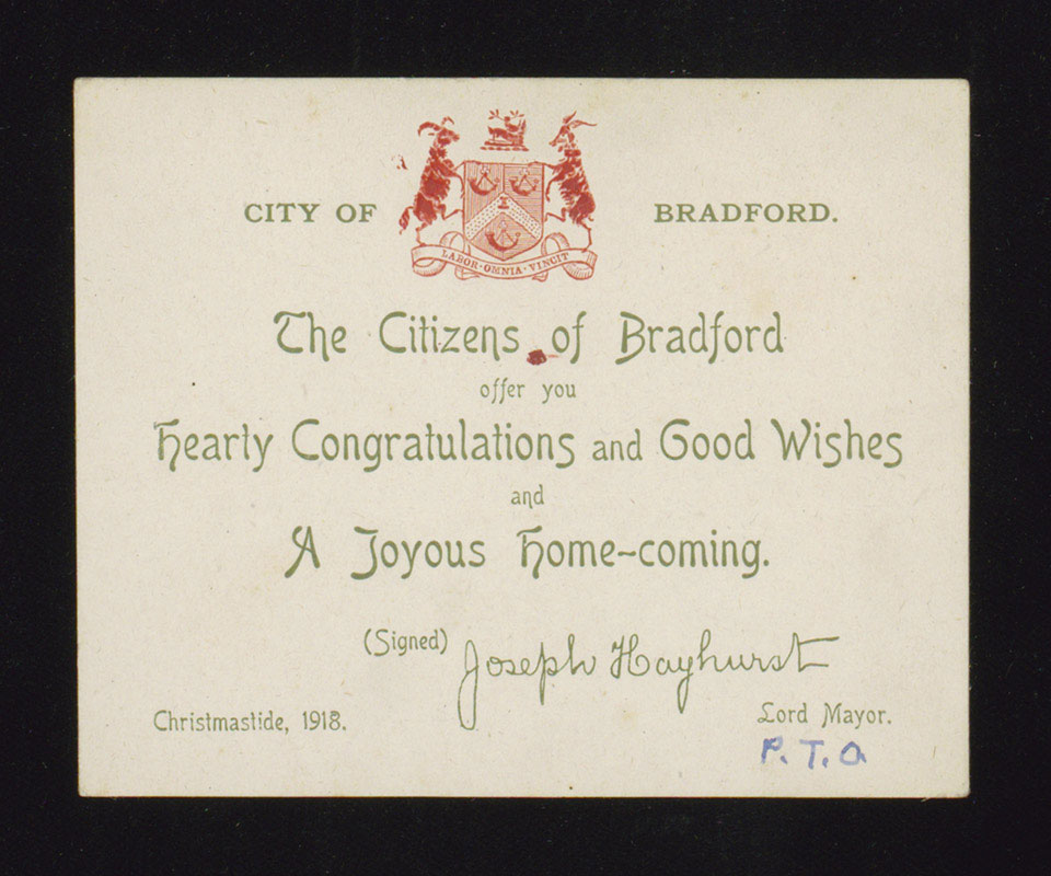 Message from the citizens of Bradford, Christmas 1918