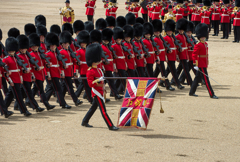 The Colours of the Welsh Guards being paraded past The Prince of Wales, 6 June 2015