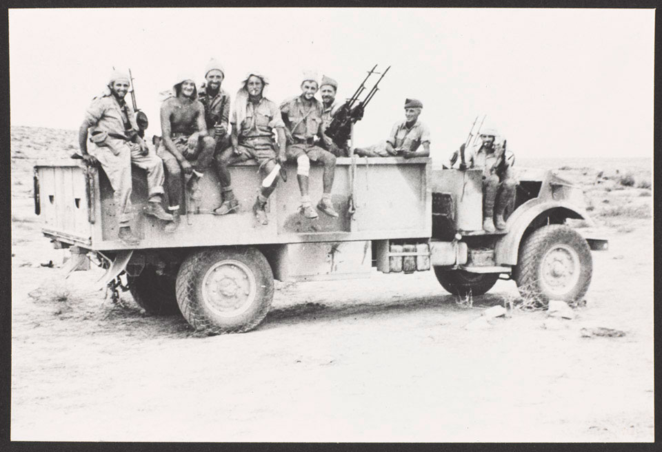 Long Range Desert Group lorry fitted with three sets of twin Vickers Class K-guns, 1942 (c)