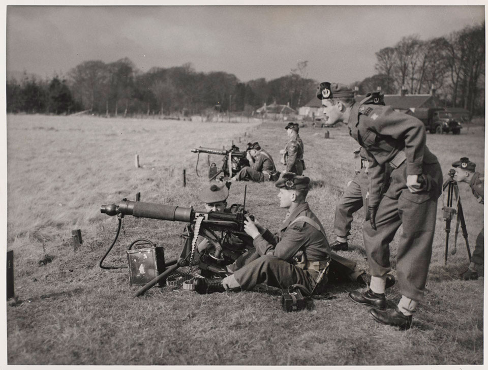 Vickers machine gun teams training on firing range, 1960 (c)