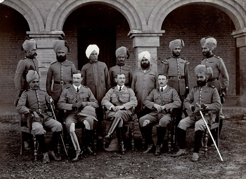Group photograph with Colonel Sir Charles John Melliss, 53rd Sikhs (Frontier Force), India, 1910 (c)