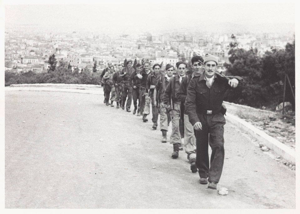 Sergeant Herbert Chambers MM with fellow Special Boat Service soldiers in Athens, 1944