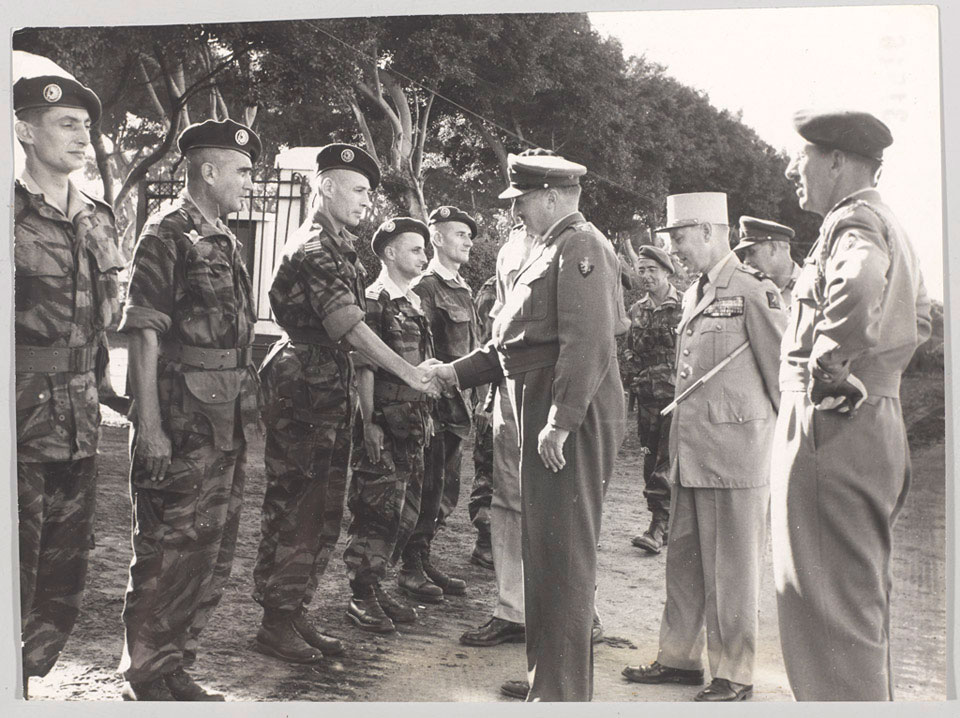 General Sir Charles Keightley, Commander of Operation Muskateer, meets French paratroopers at Suez, 1956