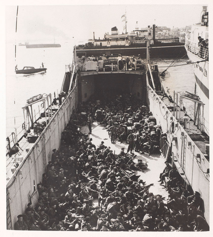 Troops aboard a landing craft bound for Port Said, 1956