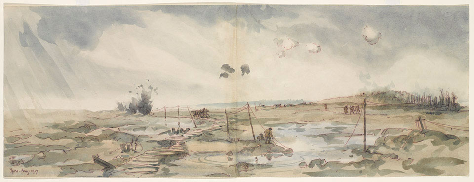 Panoramic view of the battlefield leading towards Passchendaele, Ypres, August 1917