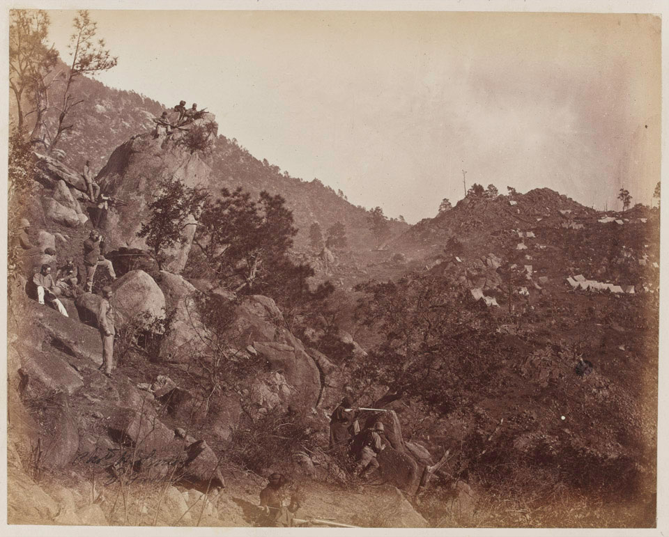 'Western look out; picket and camp', 1863 (c)