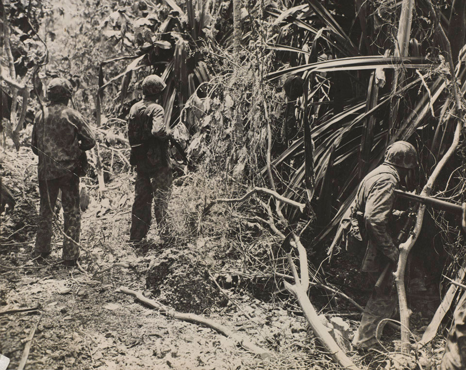 Marines advancing through the jungle, Saipan, 24 June 1944   Online  Collection   National Army Museum, London