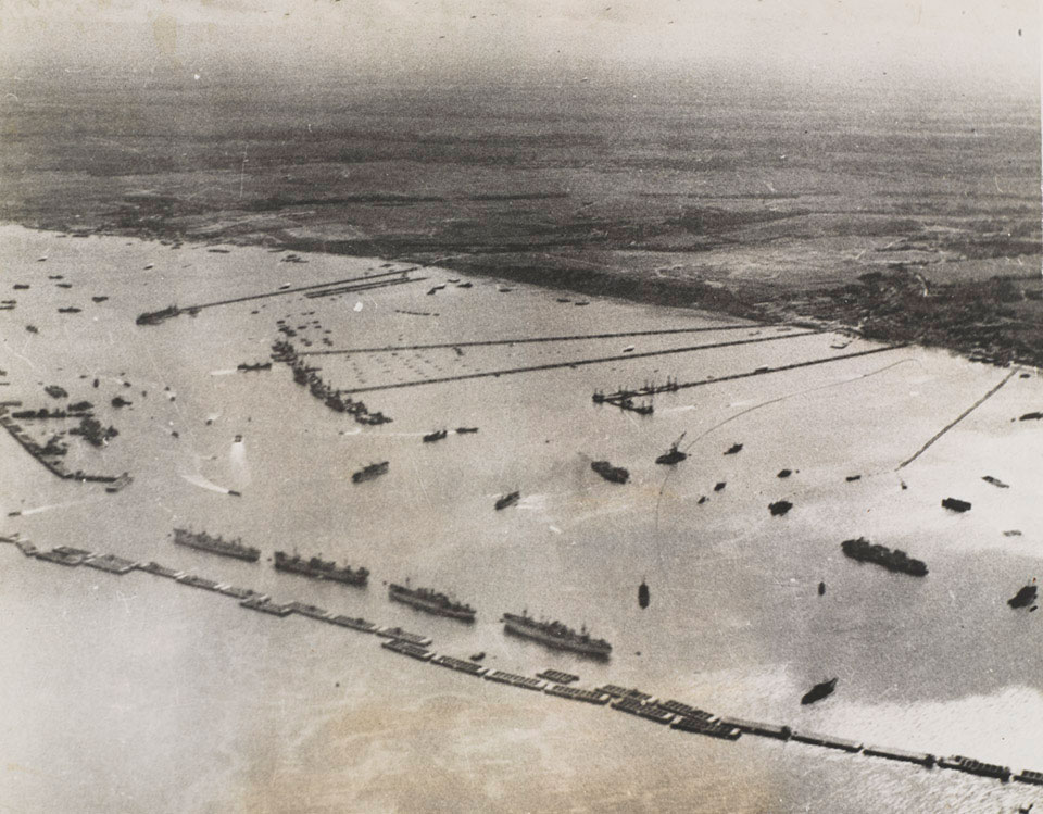 Aerial view of the prefabricated port or 'Mulberry B' at Arromanches, 1944