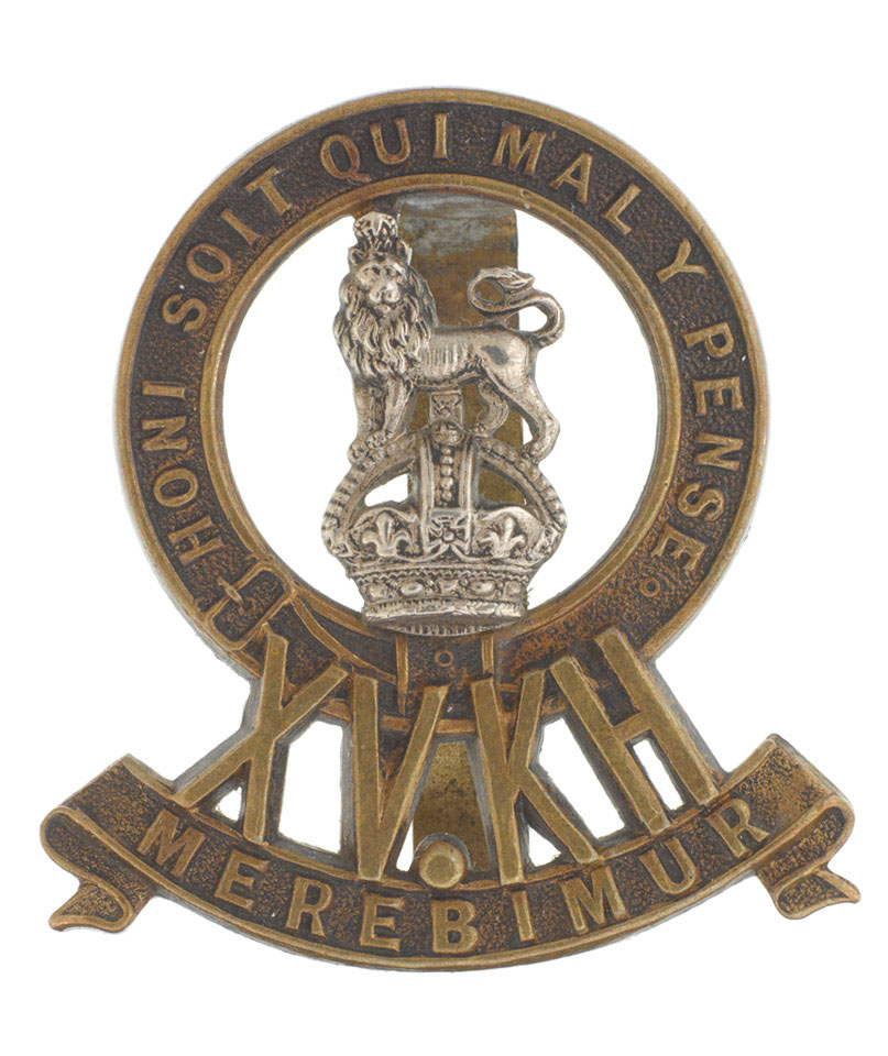 Cap badge, 15th (The King's) Hussars, 1902-1922