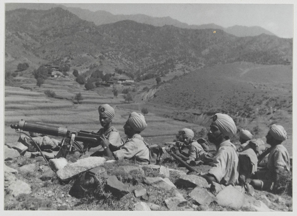 A machine gun section of 2nd Royal Battalion (Ludhiana Sikhs), 11th Sikh Regiment, Waziristan, 1936 (c)