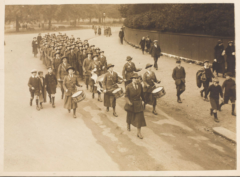 Section of the Women's Army Auxiliary Corps marching, led by their regimental band, 1917 (c)