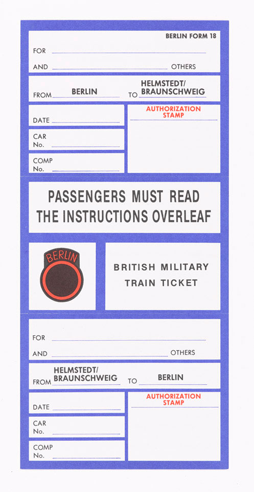 Two unused train tickets for the British Military Train, Berlin, 1985 (c)
