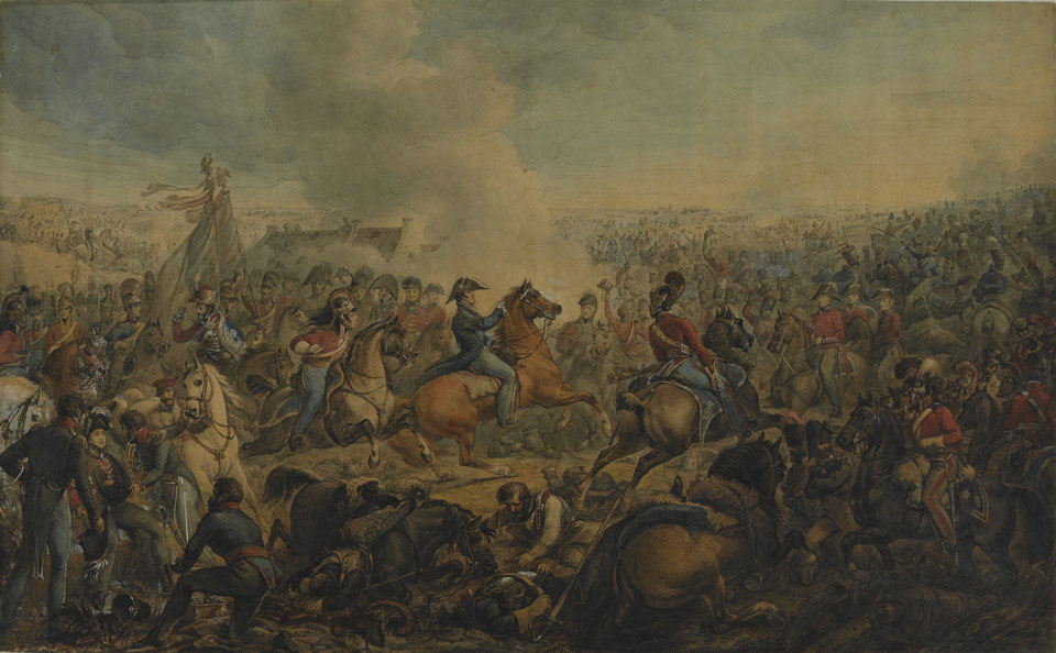 The Battle of Waterloo. The period is after the order for the advance of the British Army, 1815