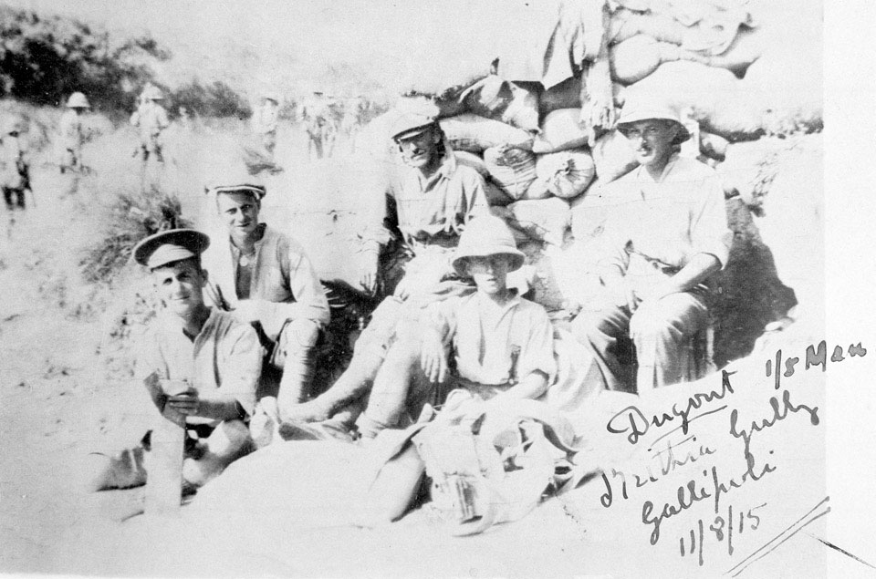 Members of 1/5th Battalion The Manchester Regiment in their dugout in Krithia Gullyi, 11 August 1915