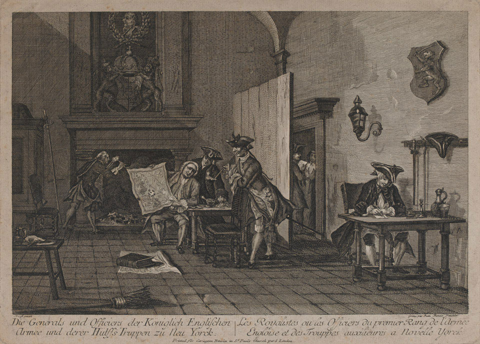 British officers study a map in their billet, 1776 (c)