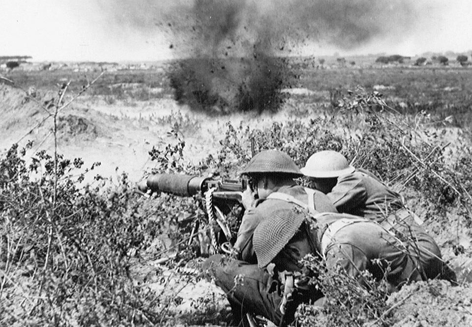 Soldiers of the Middlesex Regiment open fire with a Vickers Machine Gun Italy, 1944