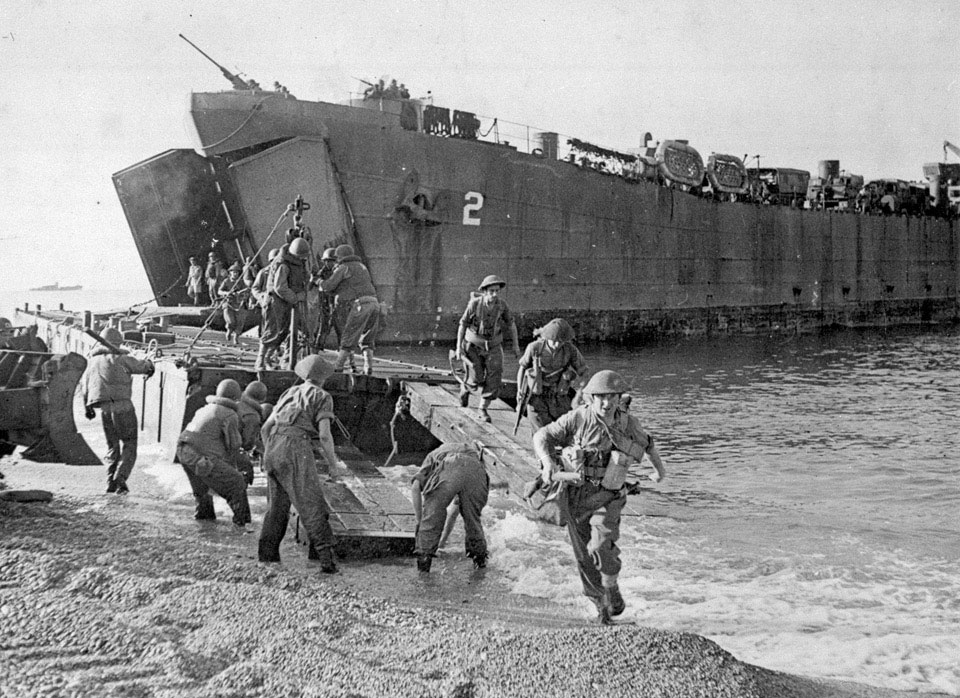 Disembarkation of men and equipment from a landing ship, Salerno, Italy, September 1943