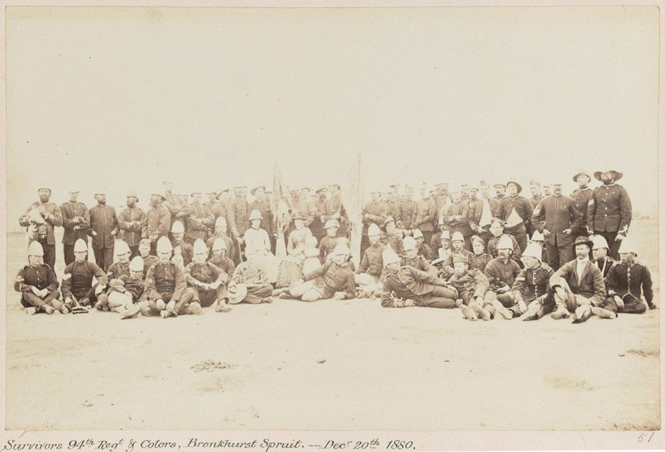 'Survivors 94th Regt & Colors, Bronkhurst [sic] Spruit. - Decr 20th 1880', Pretoria, Transvaal War (1880-1881), 5 April 1881