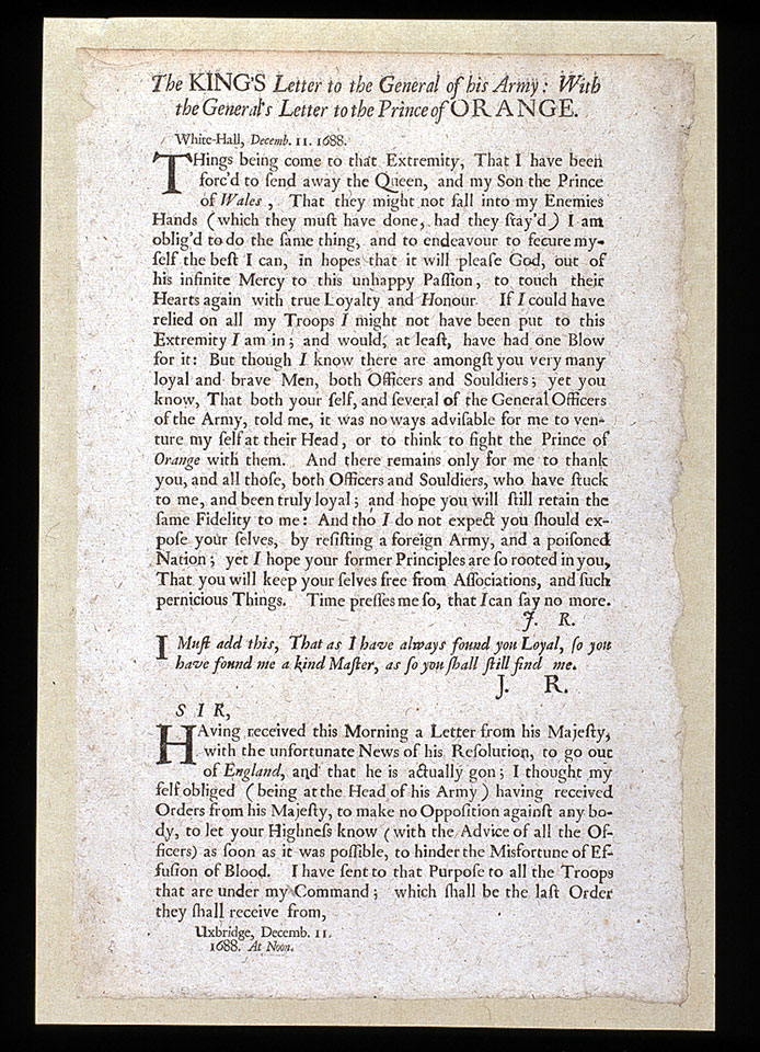 'The King's Letter to the General of his Army: With the General's Letter to the Prince of Orange', 11 December 1688