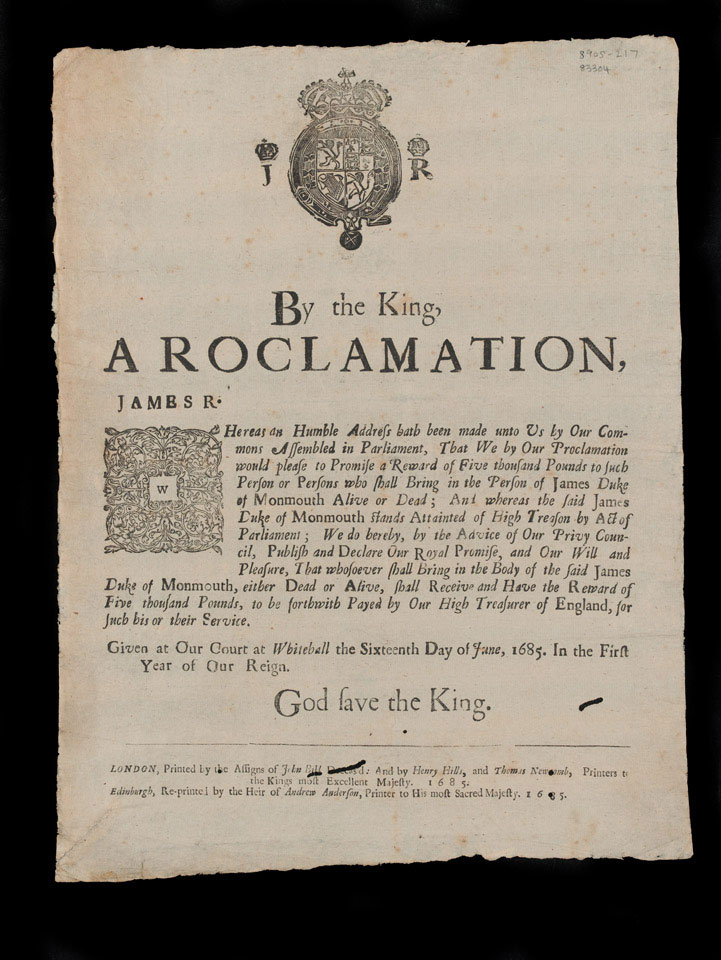 Proclamation, James Scott, Duke of Monmouth, 16 June 1685
