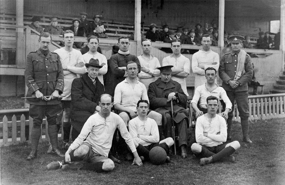 Members of the 17th Battalion, The Middlesex Regiment in football kit, 1915 (c)