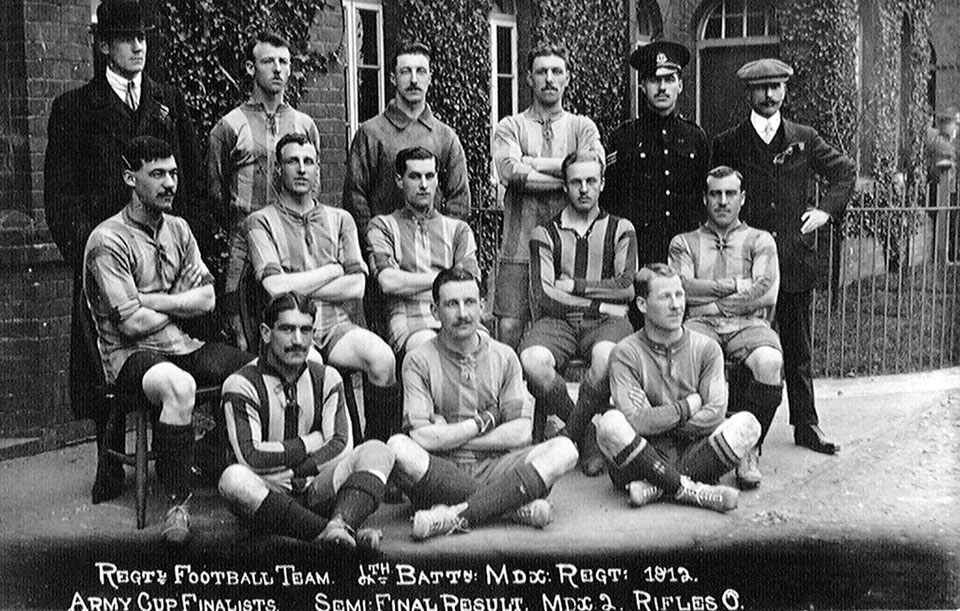 Football team, 4th Battalion Middlesex Regiment, Army Cup semi-final, 1912
