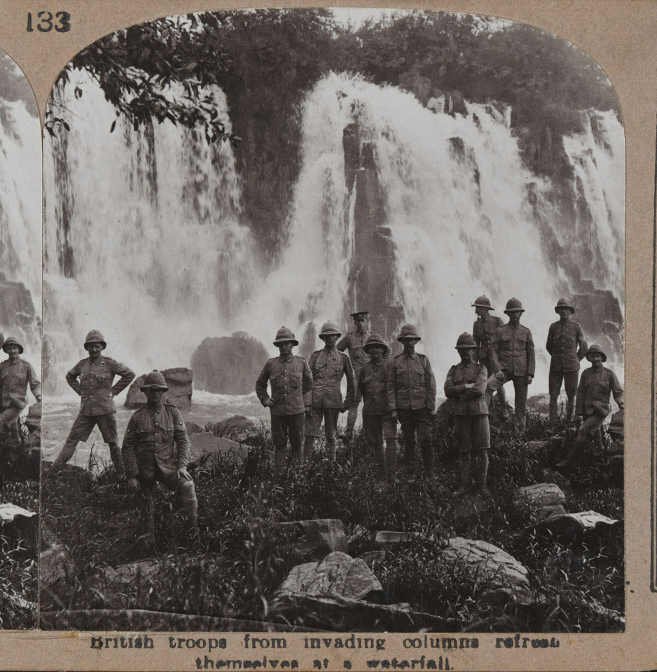 'British troops from invading columns refresh themselves at a waterfall', West Africa, 1915 (c)