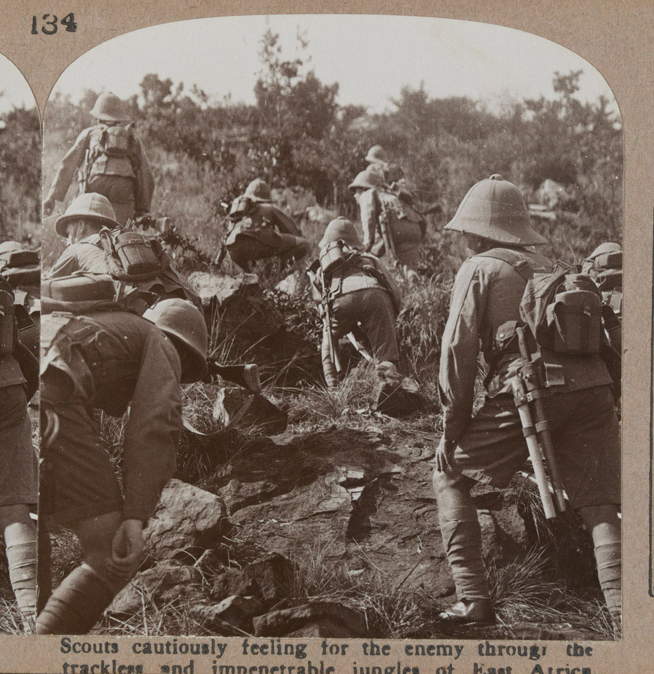 'Scouts cautiously feeling for the enemy through the trackless and impenetrable jungles of East Africa', 1916 (c)