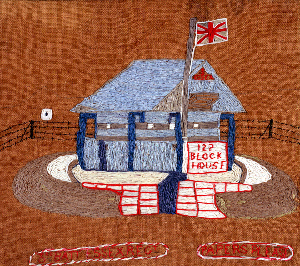 Wool embroidery of a blockhouse, Boer War, South Africa, 1900 (c)