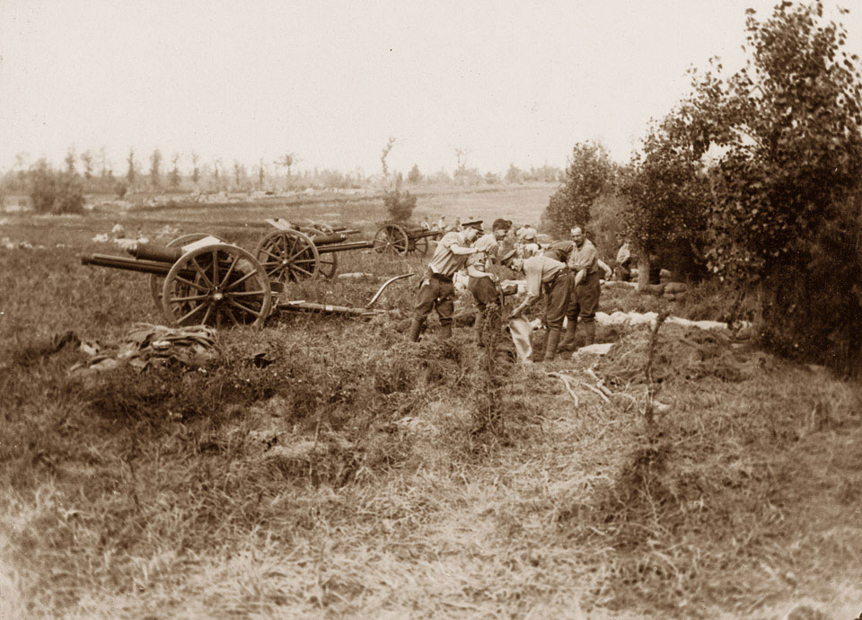 Gunners dig in on captured territory during the Battle of Messines Ridge, 1917