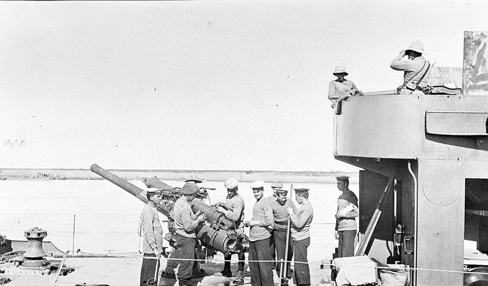 "'Monitor bombarding Shaik Saad from Hibsh with 4"" gun', 6 January 1916"
