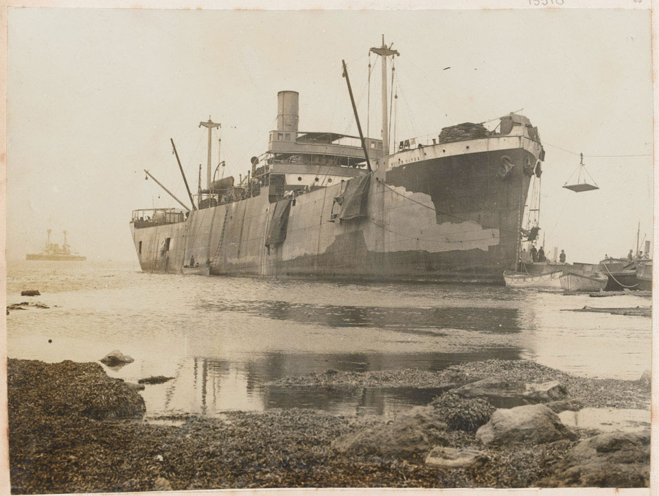 The River Clyde used as a store ship after the landing, Gallipoli, 1915