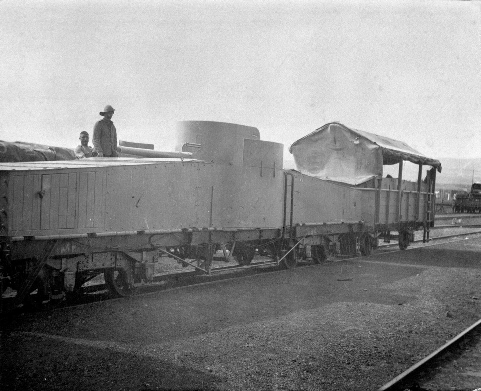 The armoured train which accompanied Lord Milner on a secret visit to Natal, Boer War, December 1901