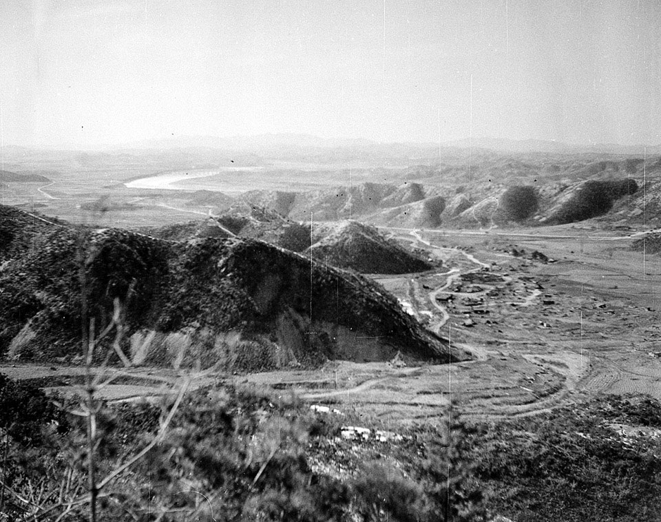 'View looking north west over the River Imjin from alternative SRAP position. 200m high in the Kansas line'
