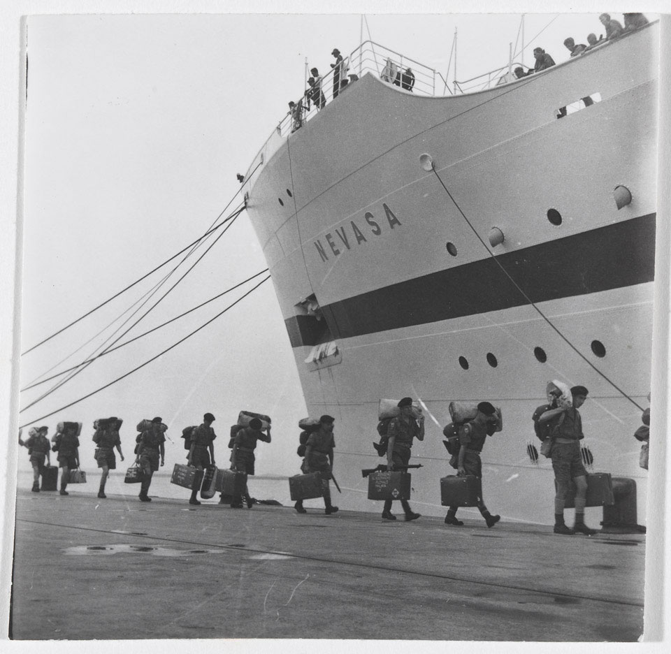 1st Battalion, The Loyal Regiment (North Lancashire), boarding the 'Nevasa', 1957