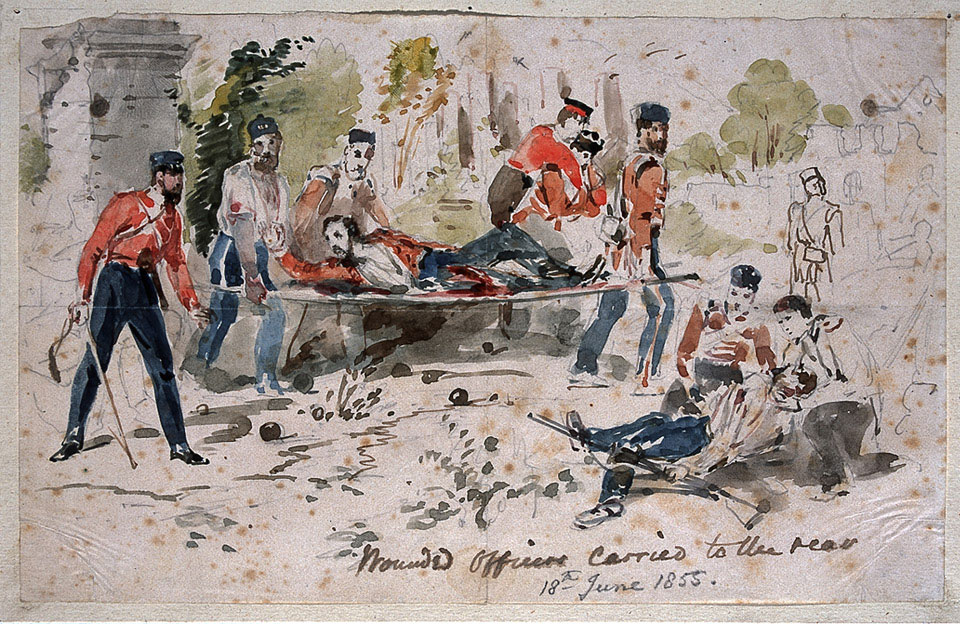 Wounded officers carried to the rear, 18 June 1855