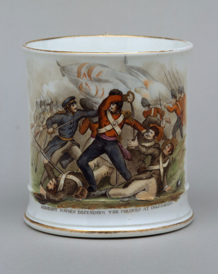 Mug commemorating 'Sergeant Davies defending the Colours at Inkermann', 1854